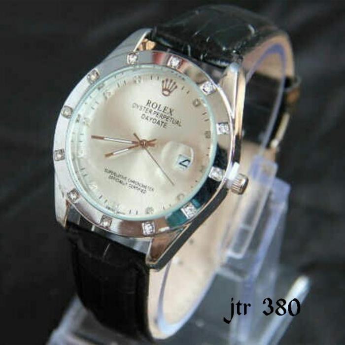 jam tangan rolex / jtr 380 hitam / Jam tangan cewek cowok / jam tangan model