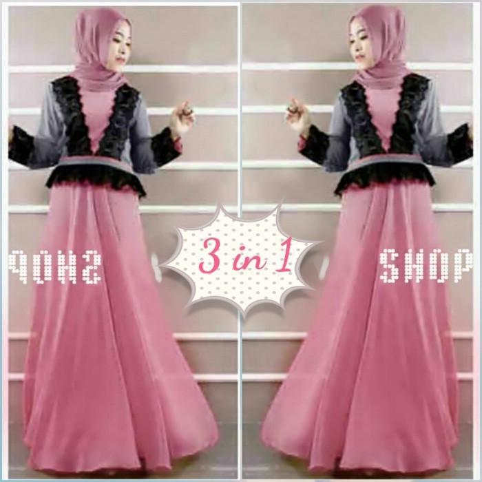 (JNH Shop)  Busana Muslim Xl Gamis Princess Zahra Set Gamis Pesta Jersey Import