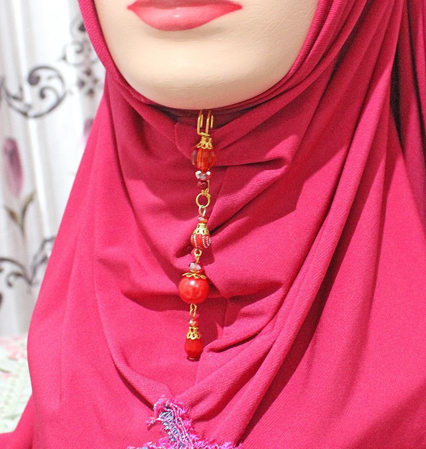 Nafiza - Bros Jurai Peniti Hijab Kristal Aira Meizahra Merah