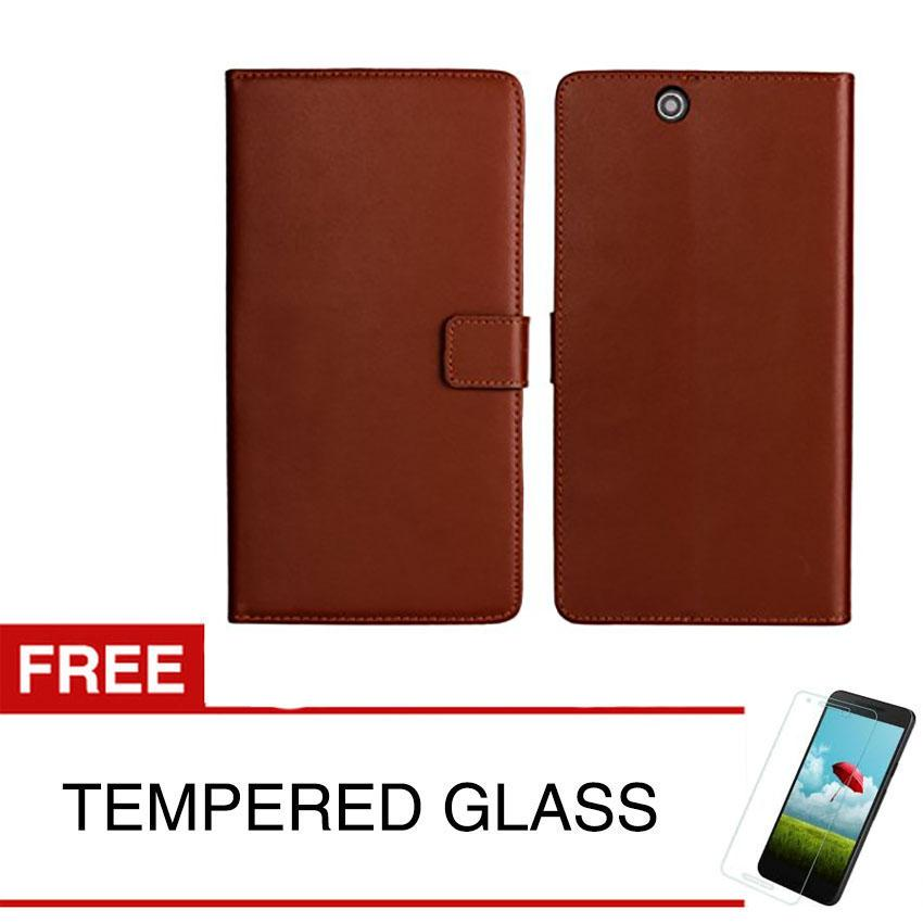 Wallet Case for Sony Xperia Z Ultra / C6806 + Gratis Tempered Glass - Coklat