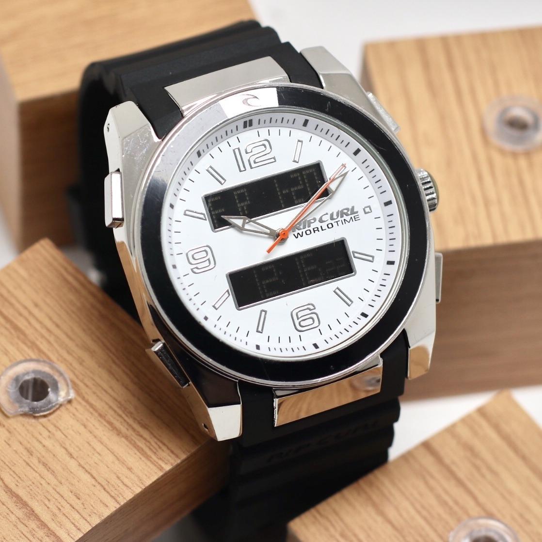 Jam tangan Pria Rubber strap ( Ripcurl ) Design Exclusif Leather Strap Dual Time