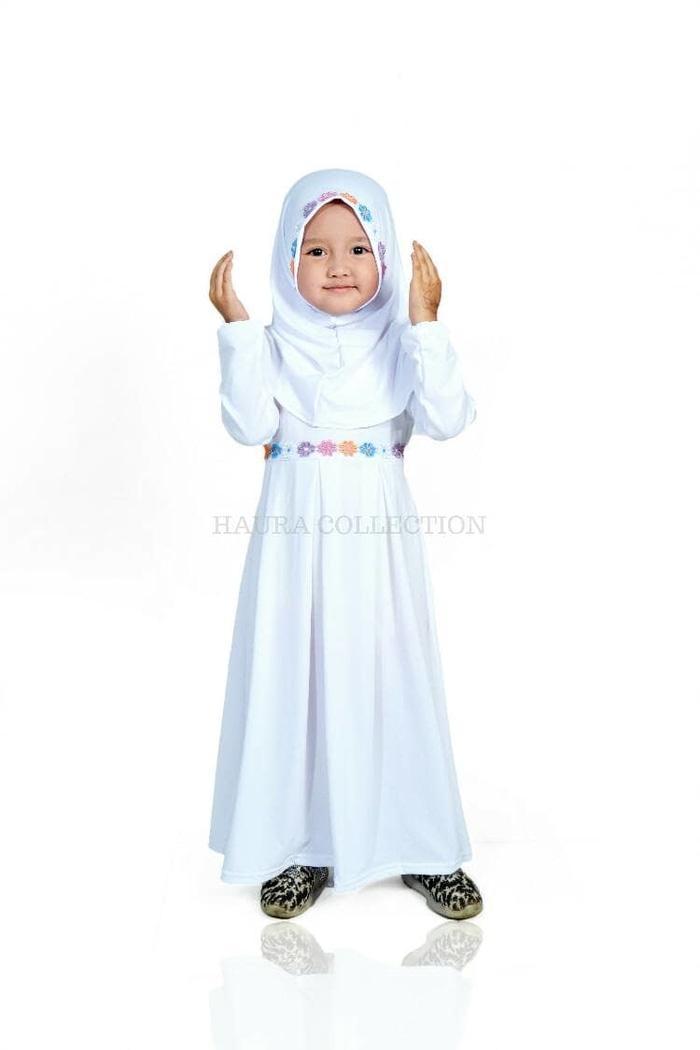 Best Seller! Baju muslim/gamis anak perempuan warna putih untuk manasik