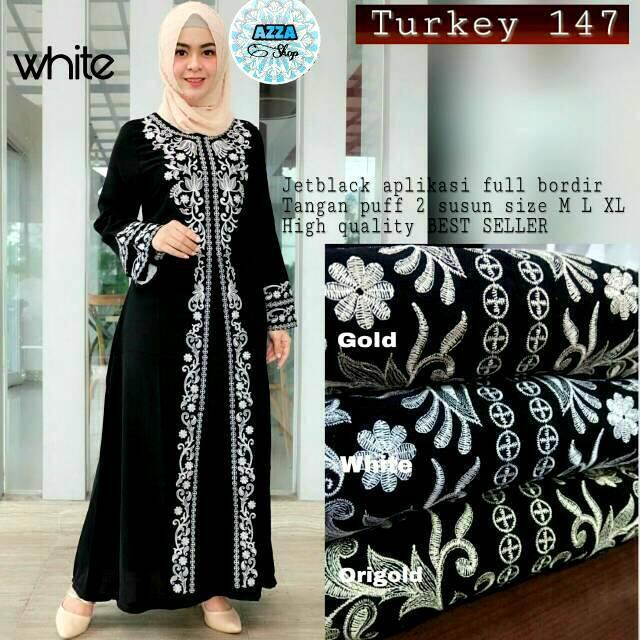Abaya Arab Turkey Jubah India Umroh Haji Gamis Jalabiya Mesir Baju Pengajian Hitam Cantik Murah 147 White XL