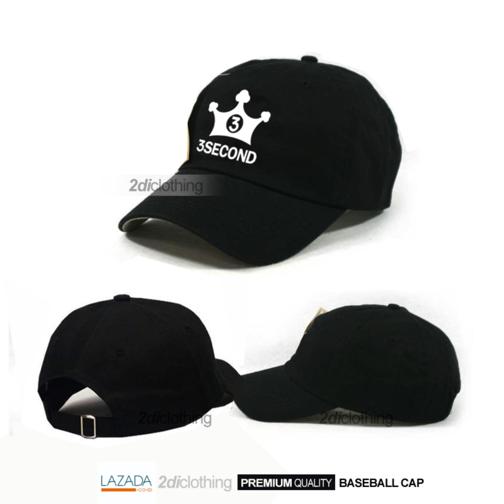 Topi distro 3second baseball black premium