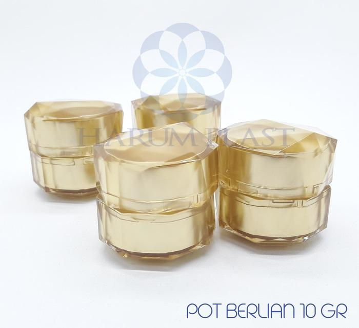 Pot / Jar Cream Kosmetik Acrylic 10gr Gold Diamond Berlian - Tempat Kosmetik - Tempat Cream - Terlaris - Termurah