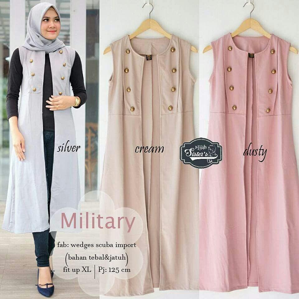 Baju Muslim Original Cardigan Military Cardi Baloteli Baju Wanita Casual Hijab Modern Trendy Luaran Simple Outher Panjang Atasan Terbaru