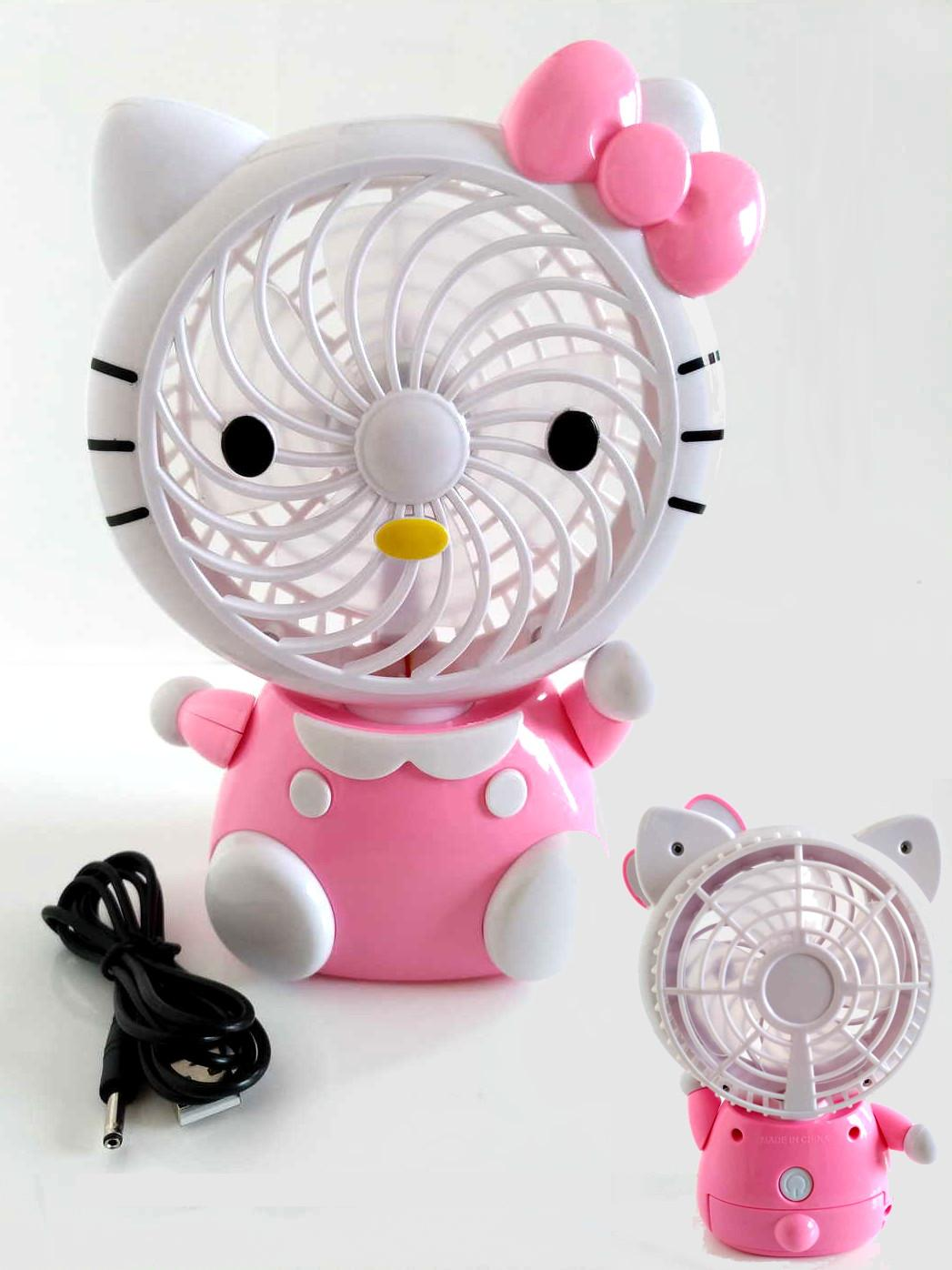 Chao Sheng Mini Cute USB Rechargeable Cartoon Fan - Kipas Angin Hello Kitty