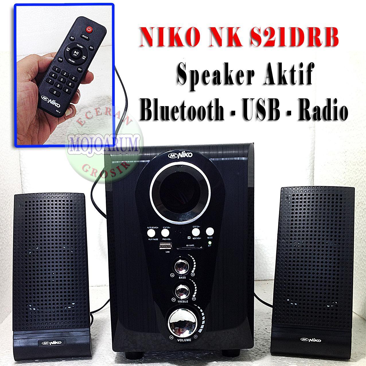 Detail Gambar Speaker Aktif NIKO S21DRB Original Bluetooth FM Radio USB Memory Active - Mojoarum Grosir