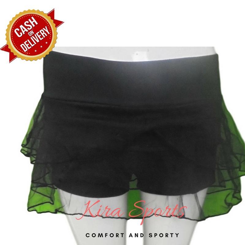 Kira Sports Bawahan Rok Senam Wanita / Bawahan Rok Olahraga Wanita AK701-Blk, L - Hitam - Bisa COD