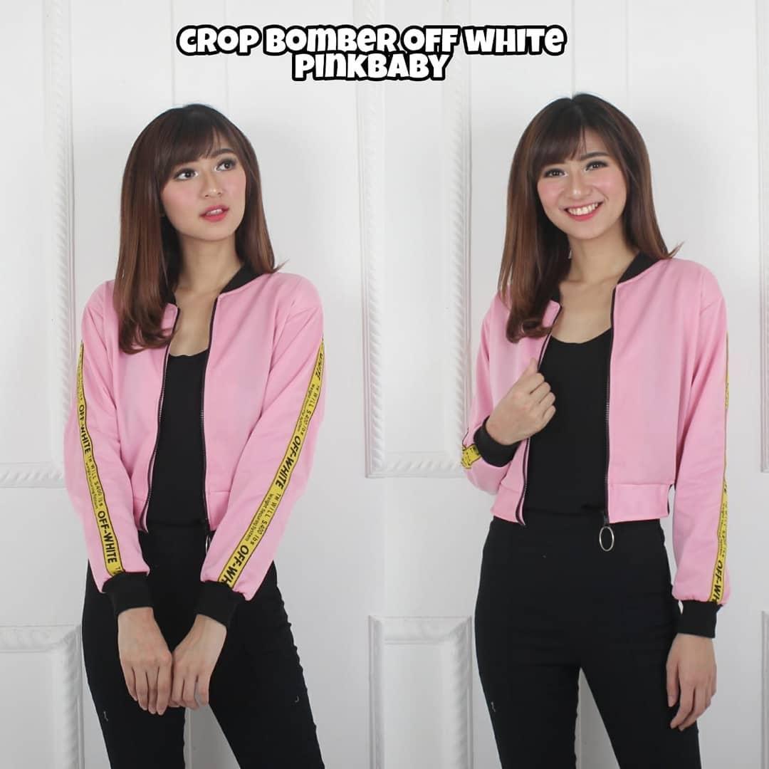 Off White Crop Bomber - Jaket Bomber Crop Wanita