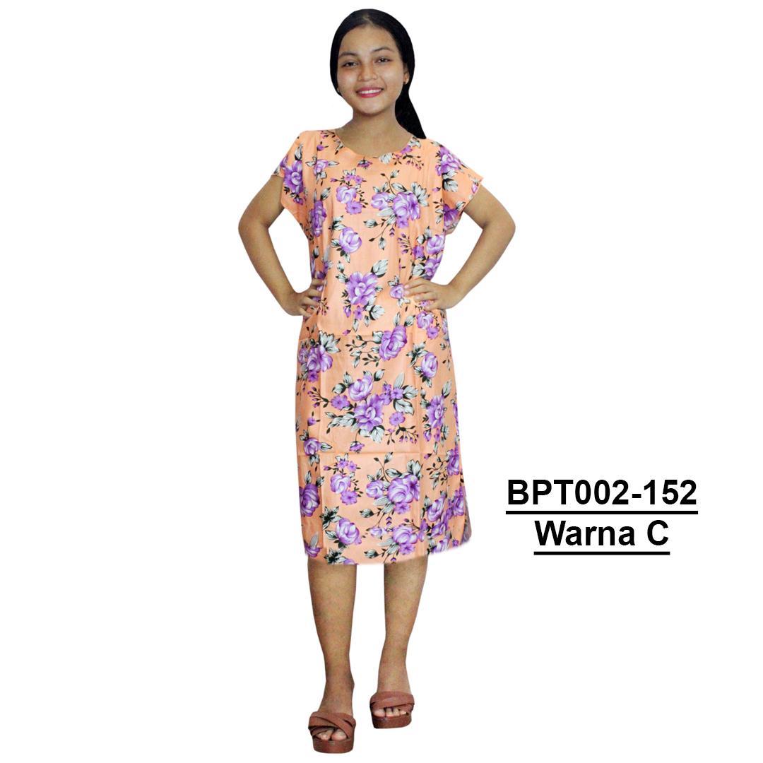 Dress Santai, Midi, Atasan Batik, Motif Bunga - (BPT002-152)