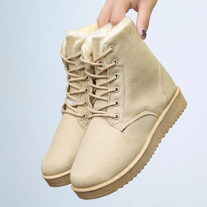 617b74bf3bf8 Autumn   Winter Brushed And Thick Snow Boots Cotton-padded Shoes Short  Boots women Shoes