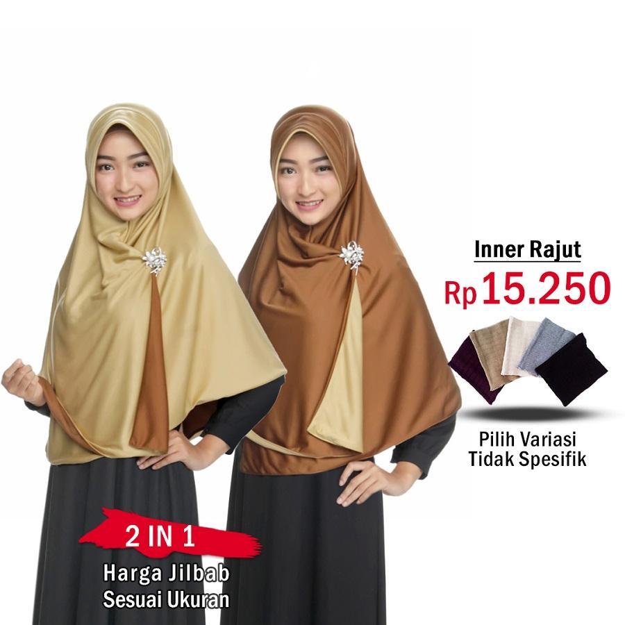 Zannah Hijab Jilbab 2 Warna Jilbab Instan Bolak Balik atau Inner Rajut  Hijab Instant Kerudung Syari Bergo Panjang Instan Paling Murah Instant Modern Jaman Now