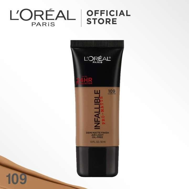L'Oreal Paris Infallible Pro Matte Liquid Foundation - 109 Classic Tan by L'Oreal Paris Makeup Loreal Foundation Cair Matte For Normal to Oily Skin / Kulit Berminyak Long Lasting Tahan Lama