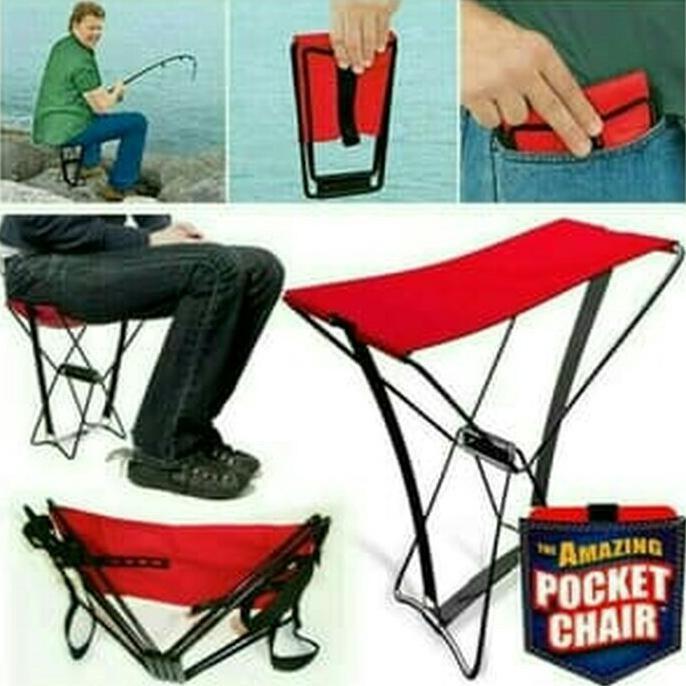 Kursi Lipat Kemah / Kursi Pancing Ikan / Pocket Chair / Kursi Mini - Pancingqsad