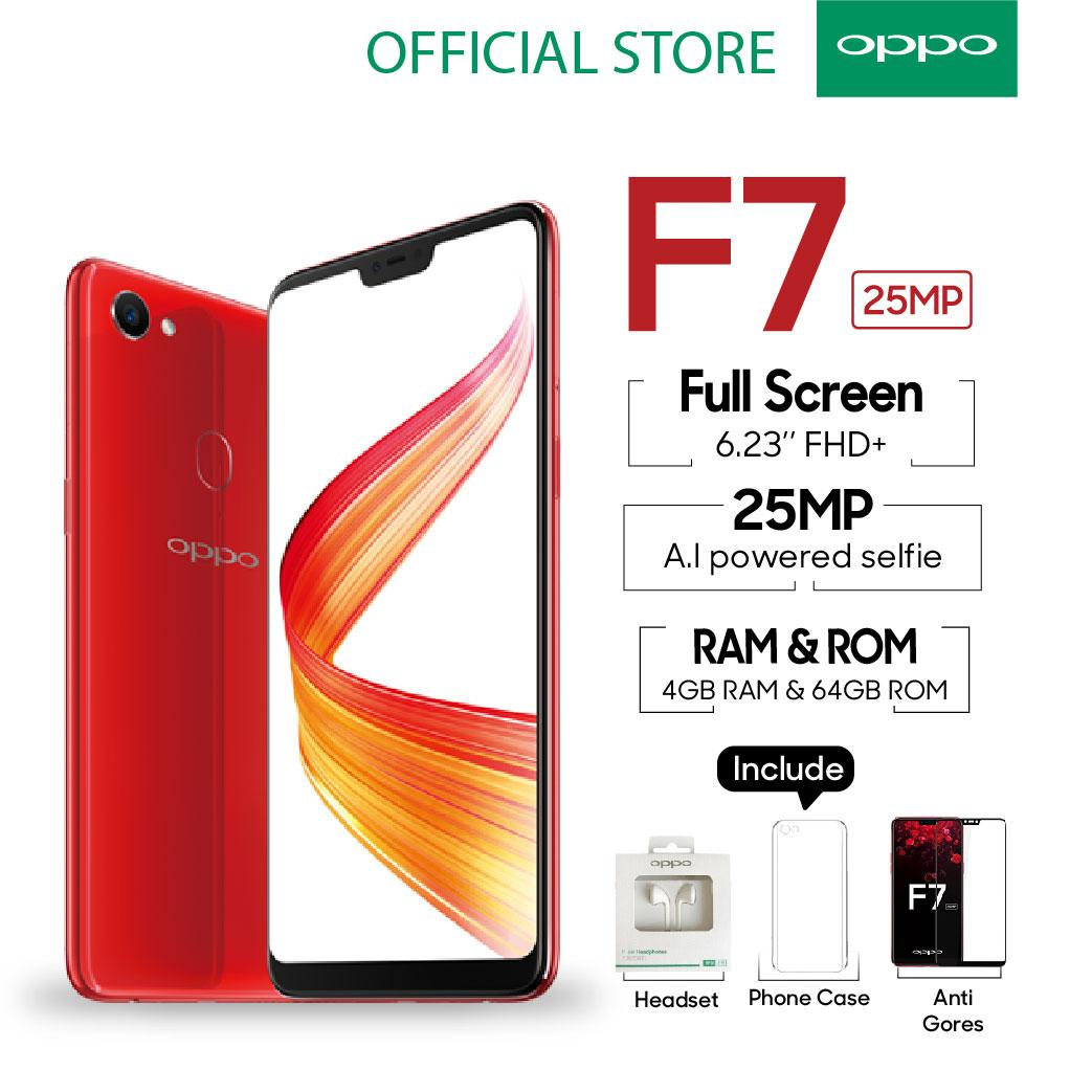 OPPO F7 Smartphone 25 MP AI Camera 4GB/64GB Red - (Cicil TANPA Kartu kredit, Garansi Resmi Oppo, Cicilan 0%)