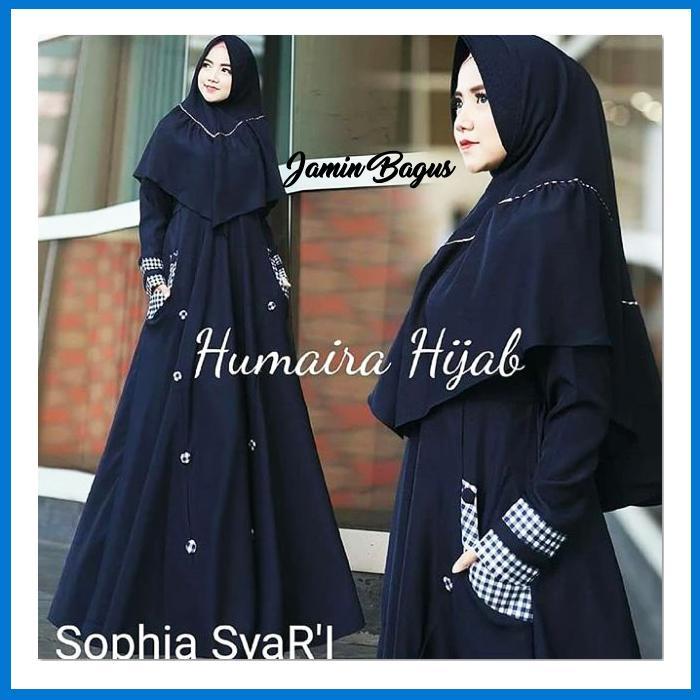 Best Seller Sophia syarii navy Termurah Bahan Berkualitas Ukuran Free Size fit to L Elegan Untuk Pesta