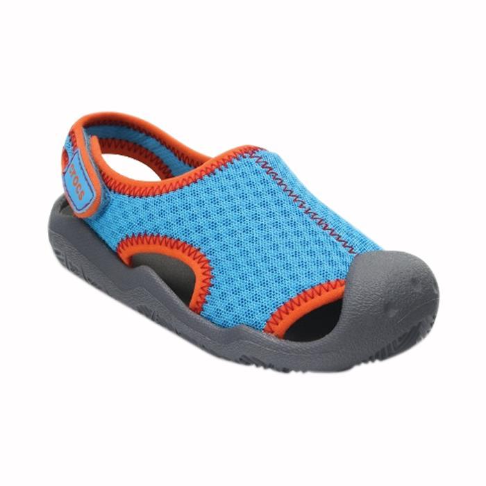 Sandal Anak|Sandal Flip Flop Anak|Sandal Clog Anak|Sandal Crocs Murah|Sandal Crocs Original|Crocs Swiftwear Cerulean Kids Sandal-20402443I