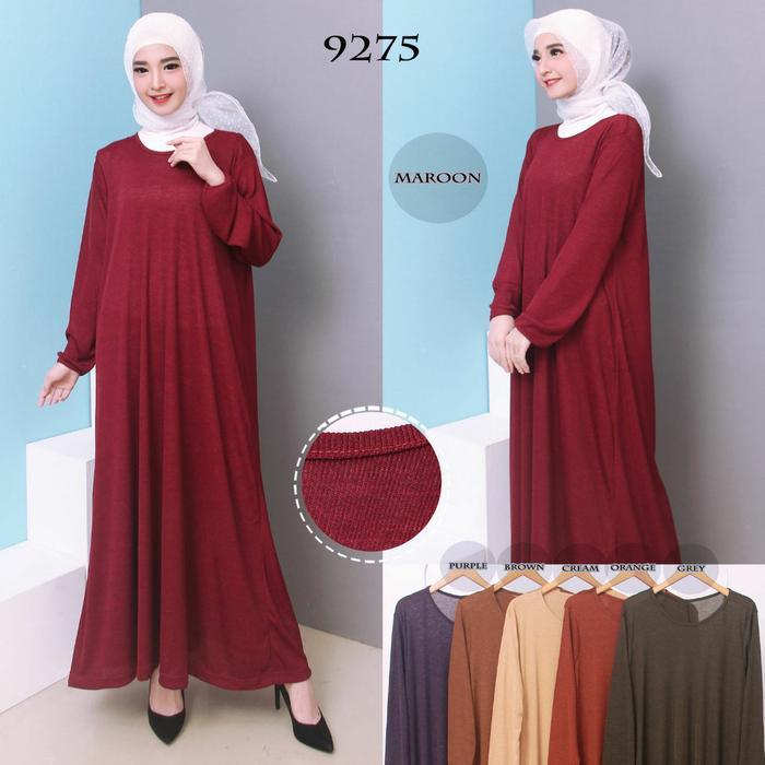 Kenzmal- Maxi Gamis Dress Baju Muslim Wanita Promo Gamis Termurah Baju Gamis Jumbo Polos Bahan Kaos Rib 4L 9275