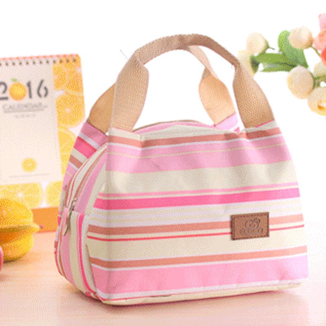 Lunch Cooler Bag motif Salur Kotak Tempat Makan Bekal Aluminium Foil Tas Tahan Panas - PINK - EDW 005