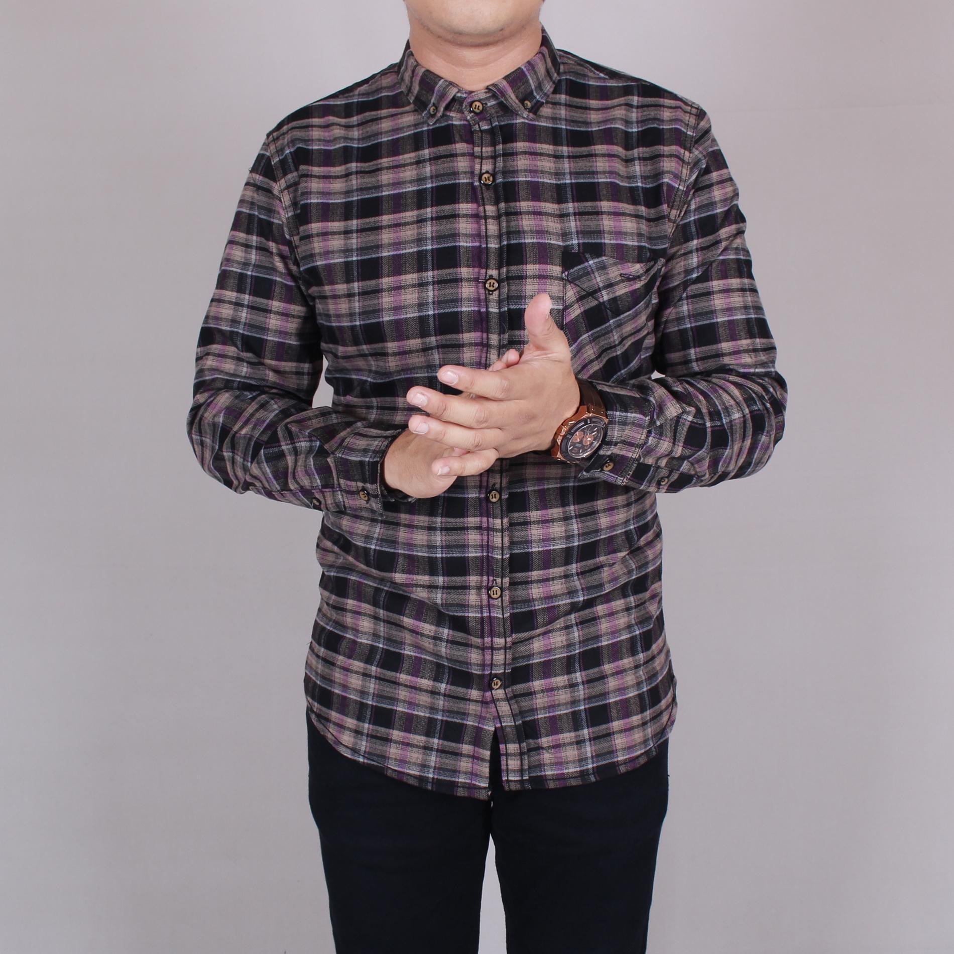 Zoeystore1 6030 Kemeja Flanel Pria Lengan Panjang Exclusive Baju Kemeja Flannel Cowok Kerja Kantoran Formal Coklat Campur Hitam Exclusive