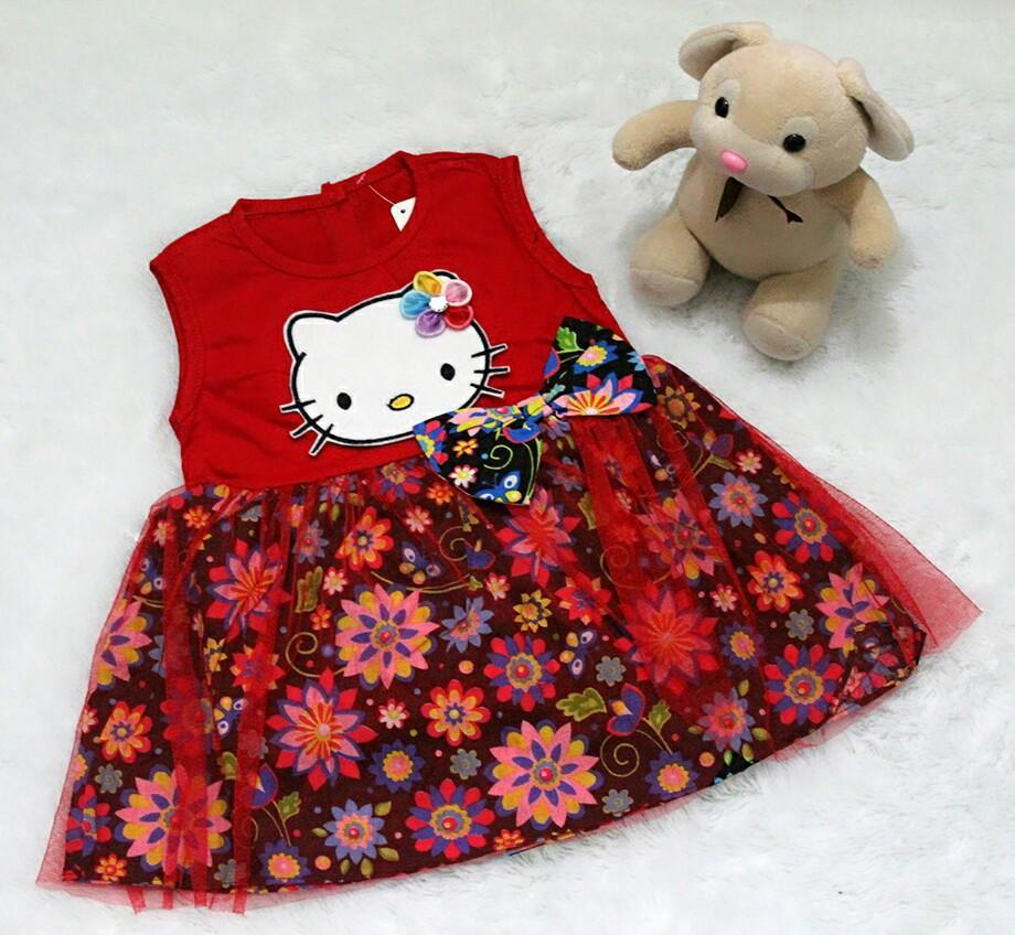 All Size 3-12 Bulan / Dress Baju Bayi Anak - Dress Tile Kitty with