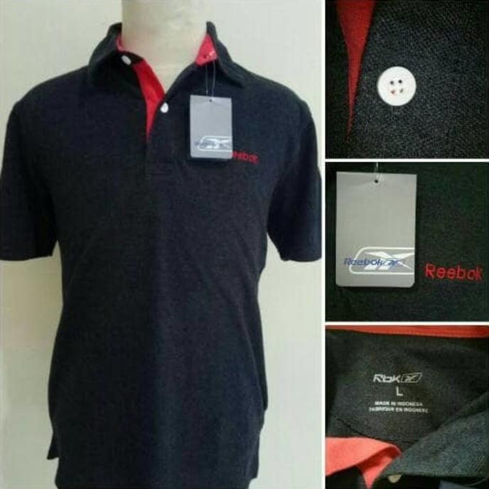 Reebok Darkgrey Polo Shirt Original Branded Grosir Murah Kaos Kerah - 0Lanz9