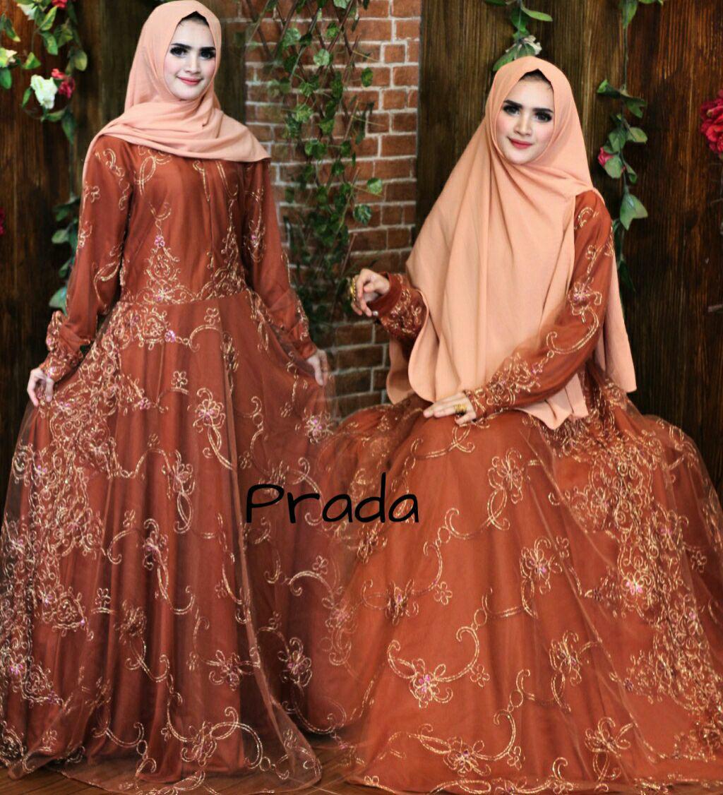 Baju gaun dress gamis muslim murah-brokat warna ungu tua-size XL-umbrella klok 4m