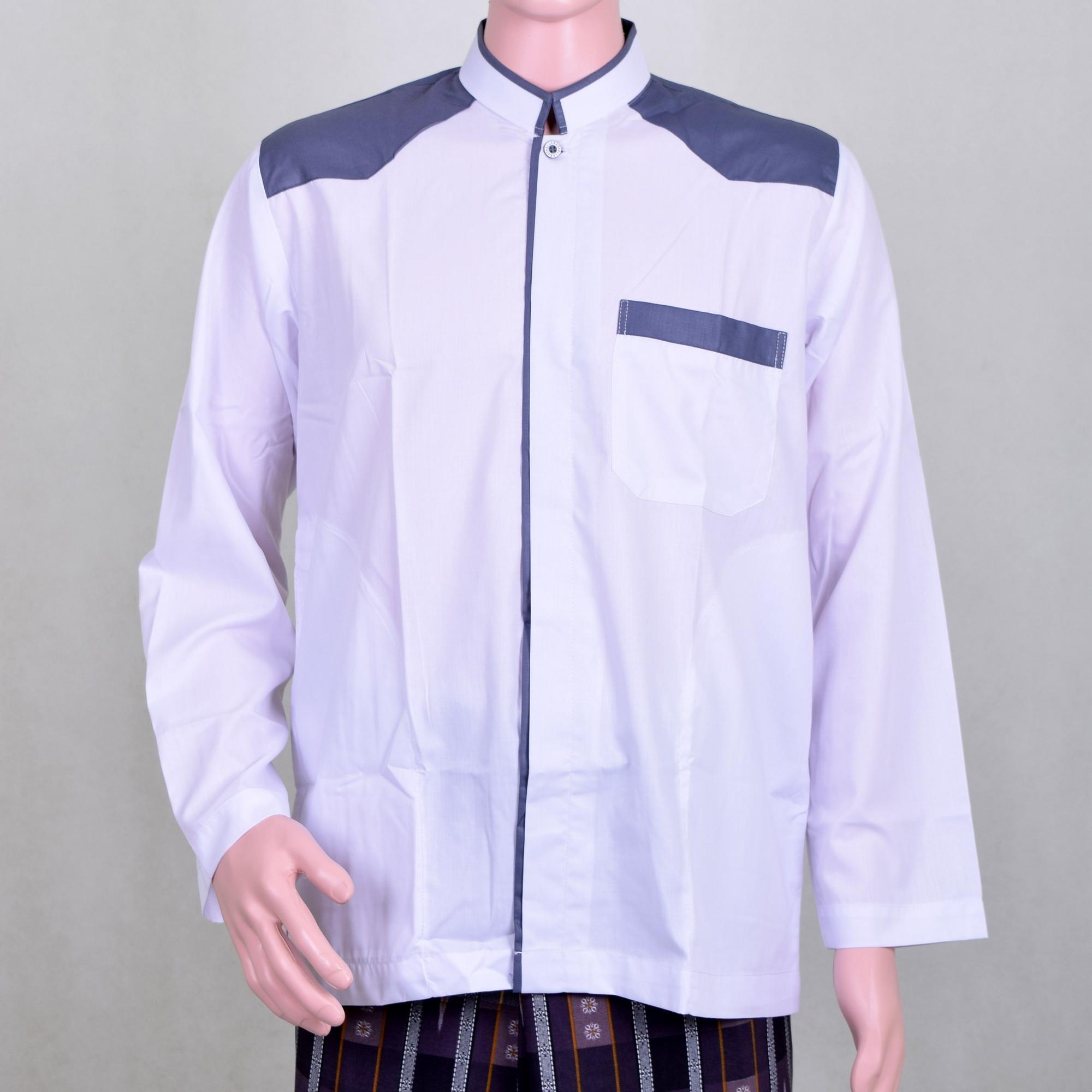 Baju Koko Pria Putih Kombinasi Abu Abu, Keren Simple dan Berwibawa