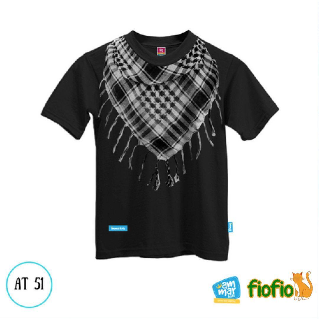 AT 51 Kaos Anak Muslim Merk Ammarkids 3D Sorban Warna Hitam