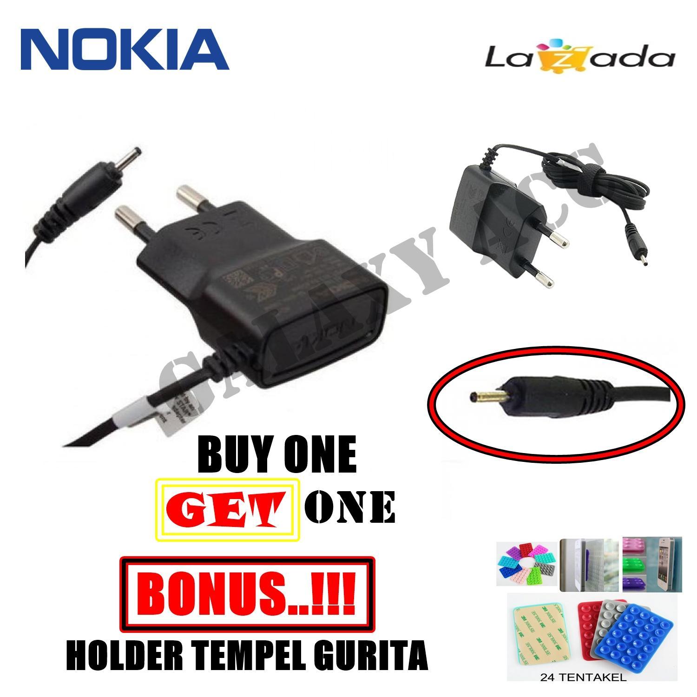 BUY 1 GET 1 Nokia Travel Charger Lubang Kecil N95 - AC - 15E Original FREE Holder Tempel Gurita