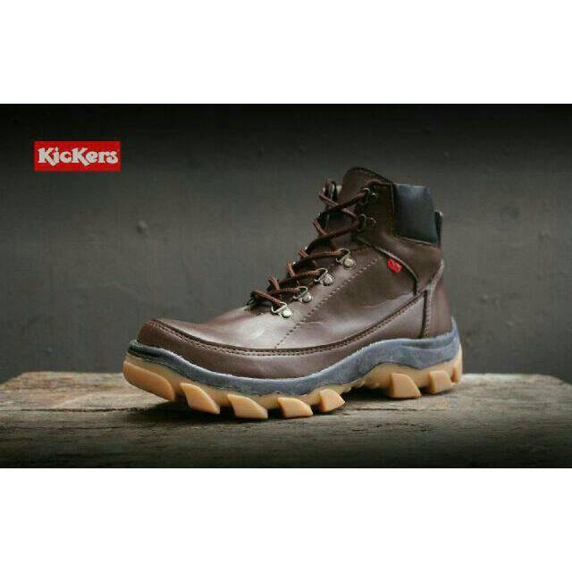 Sepatu Kickers Boots Safety Brown West Touring Tracking Kulit Boot Pria