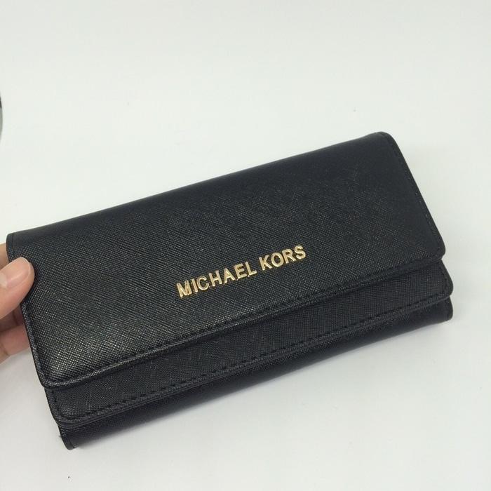 Tas dompet wanita cewek branded Michael Kors MK flip wallet Hitam - dyhKEK