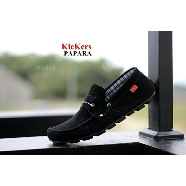 sepatu casual slop slip on formal kickers mocasin papara hitam loafers santai kerja