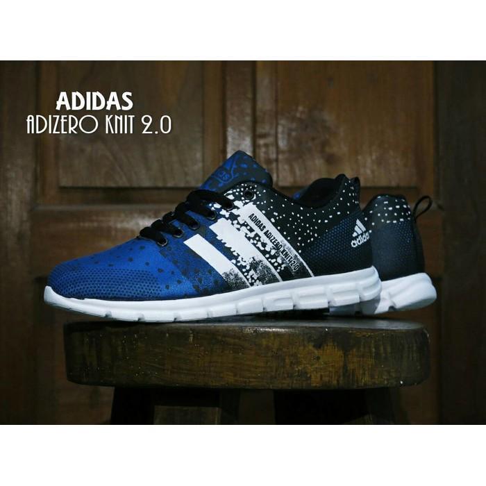 Promo Sepatu Adidas Adizero Knit 2.0 Blue / Biru / Sport / Kets / Joging Gratis Ongkir