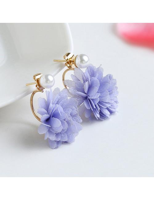 LRC Anting Tusuk Fashion Pink Flower Shape Decorated Earrings