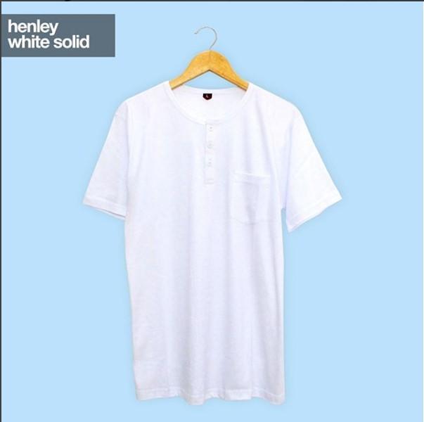 Baju Kaos Polos HENLEY WHITE SOLID Lengan Pendek / Kaos Polos Kancing Saku Putih Tangan Pendek