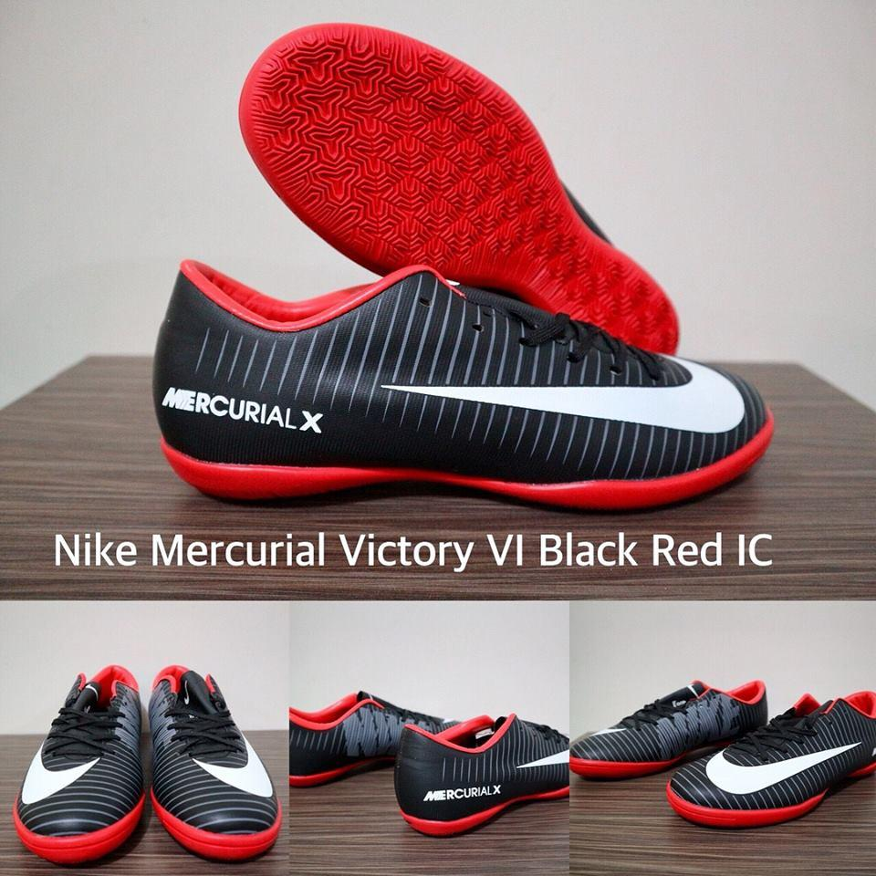 SEPATU FUTSAL NIKE MERCURIAL VICTORY VI BLACK RED IC + GRADE PREMIUM + BOX ORIGINAL !