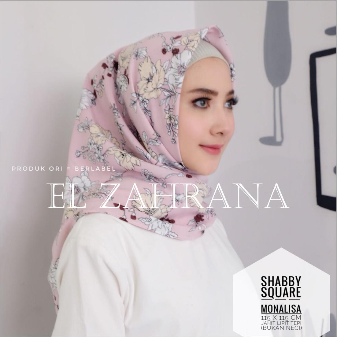 El Zahrana Hijab -  Kerudung Segi Empat - Jilbab Segi Empat - Hijab Segi Empat - Jilbab Motif Premium Monalisa Square - Maxmara Lux