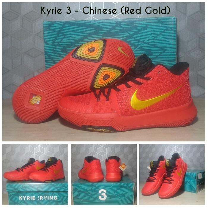 [FREE SHOES BAG]Sepatu Basket Kyrie 3 Red Medal Black Gold /Nike/Kobe