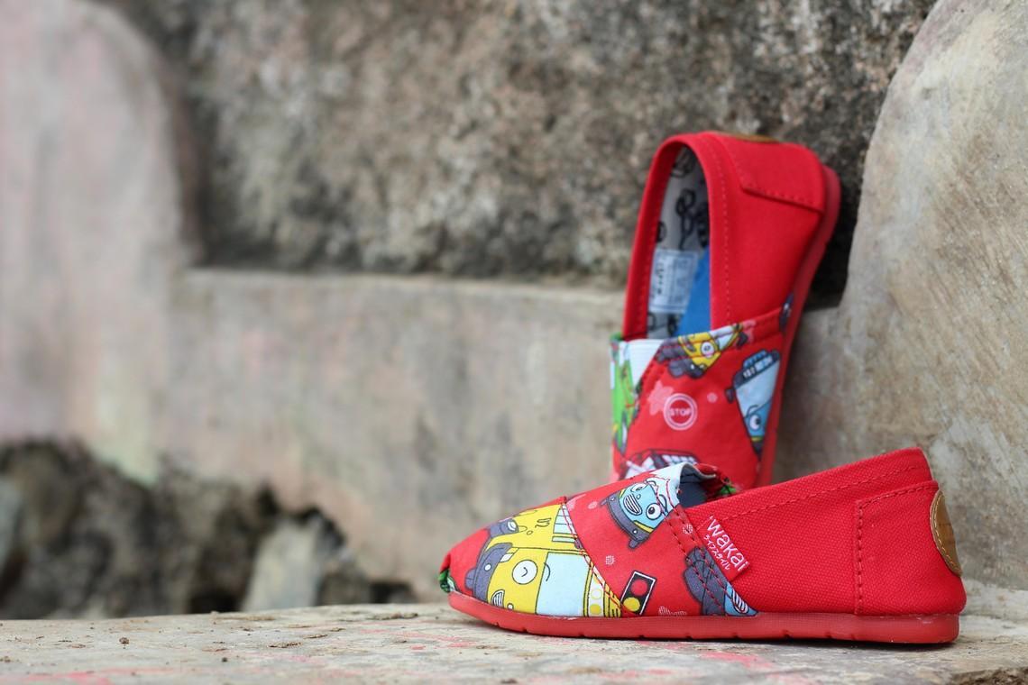 Sepatu wakai anak tayo merah G.O/sepatu wakai cwe/sepatu wakai wanita/sneakers/jogging/running/kets