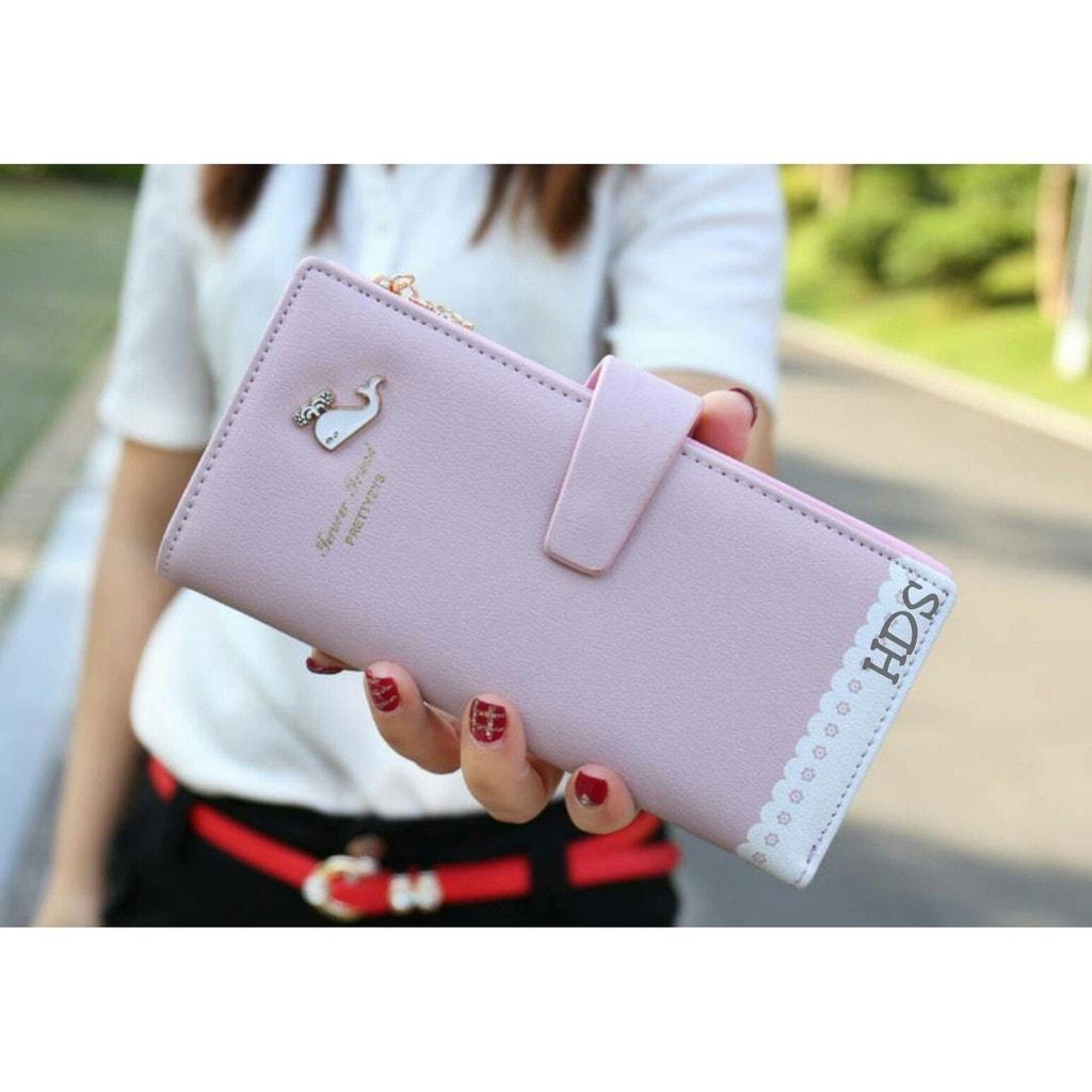 Jual Zipper Wallet / Dompet Lady Wanita / Cewek Fashion Panjang Murah Ungu Promo