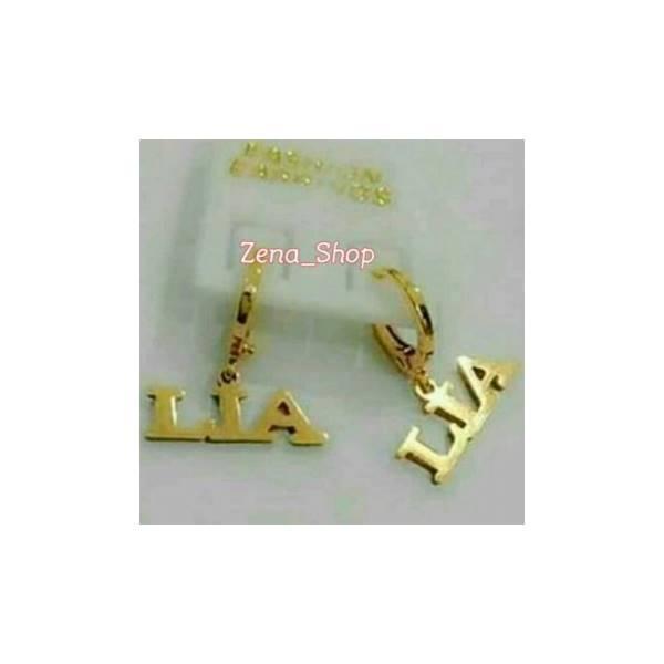 Anting Nama Lapis Emas Cantik..... Zena_Shop