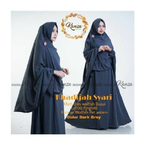 Gamis Khadijah Syari Dress Wolfice Baju Wanita Panjang Muslim Casual Pakaian Hijab Syar'I Modern Baju Gaun Pesta Modis Trendy Baju Model Terbaru