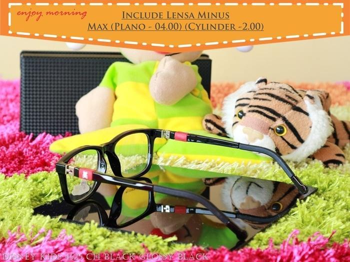 Kacamata Anak Lensa Minus Disney 4525 C14 Black Glossy Black Red