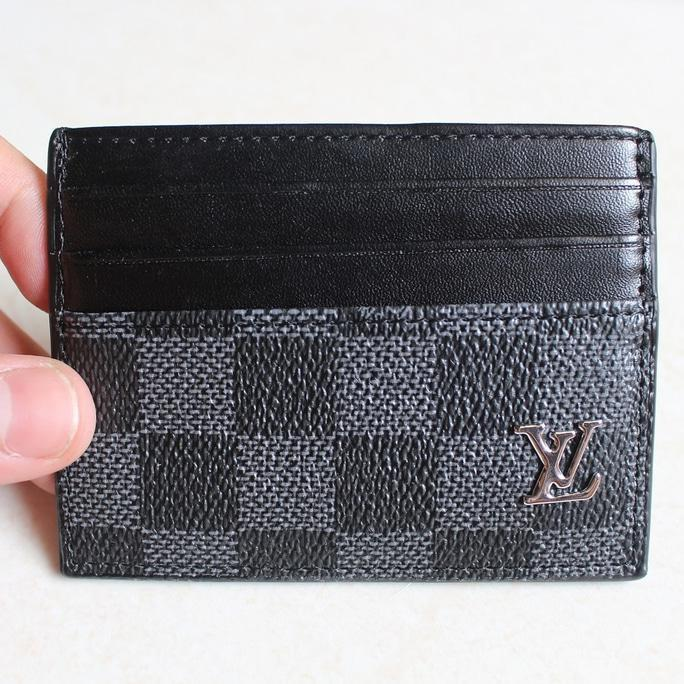 Dompet Kartu Card Holder Asli Kulit Import Louis Vuitton Lv Cc06 Black - Djfpwjg