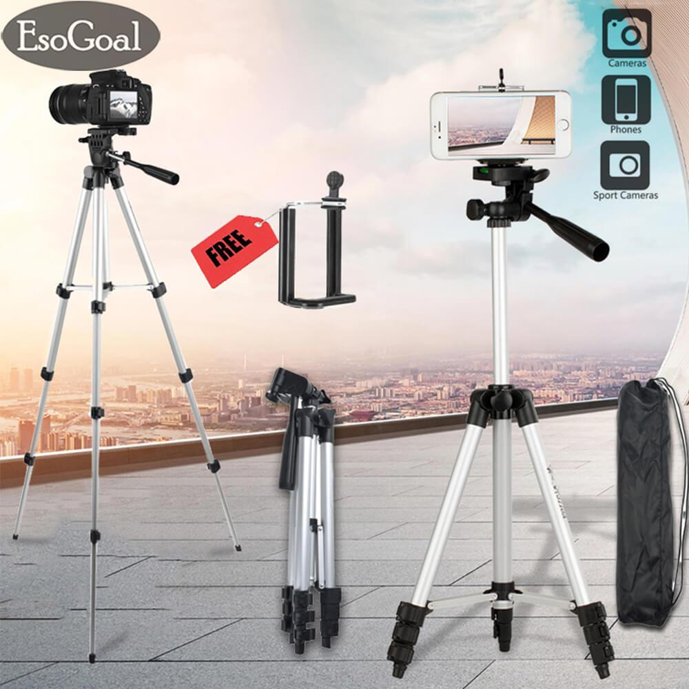 EsoGoal Camera Tripod, WT-3110A Compact Lightweight Aluminum Flexible Phone/Camera Tripod with Mobile Phone Holder + Tripod Carry Case