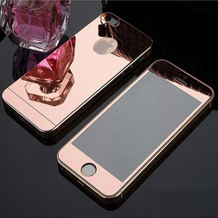 Terbatas! Tempered Glass Iphone 5G/5S Db With Bumper Warna List Gold -183 CELI
