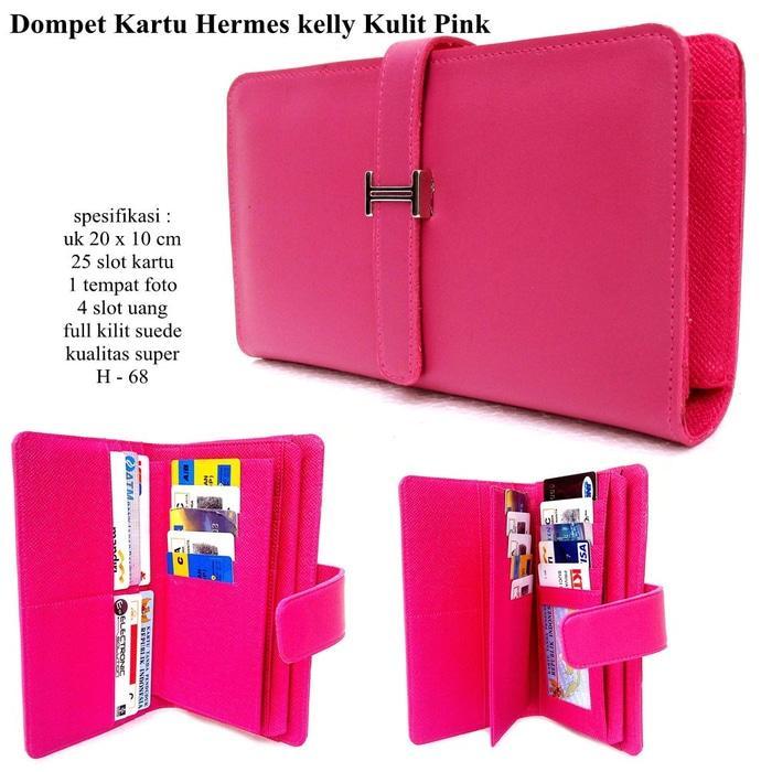 dompet wanita kulit hermes kelly 25 kartu pink - uXLfr9