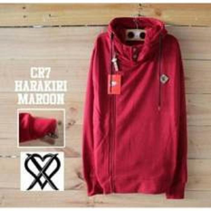 Daffa Sweater Pria - CR7 Harakiri Maroon - Fleece Tebal
